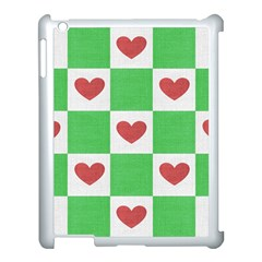Fabric Texture Hearts Checkerboard Apple Ipad 3/4 Case (white)