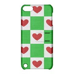 Fabric Texture Hearts Checkerboard Apple iPod Touch 5 Hardshell Case with Stand