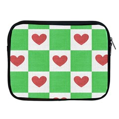 Fabric Texture Hearts Checkerboard Apple Ipad 2/3/4 Zipper Cases