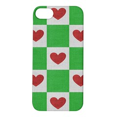 Fabric Texture Hearts Checkerboard Apple iPhone 5S/ SE Hardshell Case