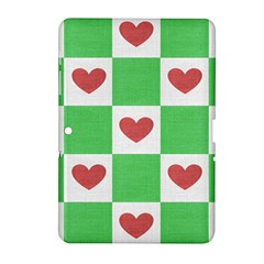 Fabric Texture Hearts Checkerboard Samsung Galaxy Tab 2 (10 1 ) P5100 Hardshell Case