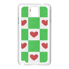 Fabric Texture Hearts Checkerboard Samsung Galaxy Note 3 N9005 Case (White)
