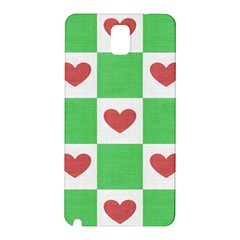 Fabric Texture Hearts Checkerboard Samsung Galaxy Note 3 N9005 Hardshell Back Case