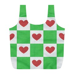 Fabric Texture Hearts Checkerboard Full Print Recycle Bags (l)
