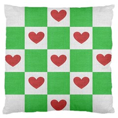 Fabric Texture Hearts Checkerboard Standard Flano Cushion Case (Two Sides)