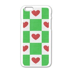 Fabric Texture Hearts Checkerboard Apple Iphone 6/6s White Enamel Case
