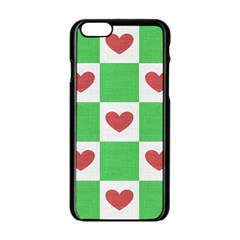 Fabric Texture Hearts Checkerboard Apple Iphone 6/6s Black Enamel Case