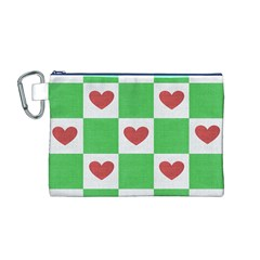 Fabric Texture Hearts Checkerboard Canvas Cosmetic Bag (M)