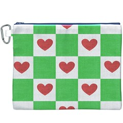 Fabric Texture Hearts Checkerboard Canvas Cosmetic Bag (xxxl)
