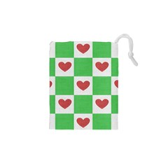 Fabric Texture Hearts Checkerboard Drawstring Pouches (XS)