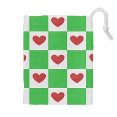 Fabric Texture Hearts Checkerboard Drawstring Pouches (extra Large)