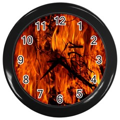 Fire Easter Easter Fire Flame Wall Clocks (Black)