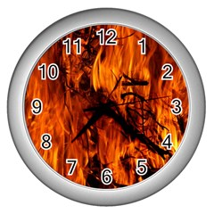 Fire Easter Easter Fire Flame Wall Clocks (silver)