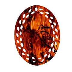 Fire Easter Easter Fire Flame Oval Filigree Ornament (two Sides)