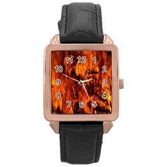 Fire Easter Easter Fire Flame Rose Gold Leather Watch