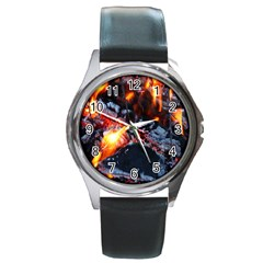 Fire Embers Flame Heat Flames Hot Round Metal Watch