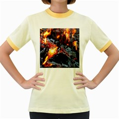 Fire Embers Flame Heat Flames Hot Women s Fitted Ringer T-Shirts