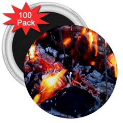 Fire Embers Flame Heat Flames Hot 3  Magnets (100 pack)