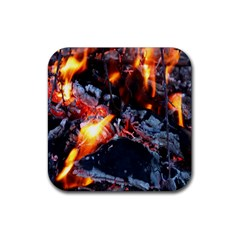 Fire Embers Flame Heat Flames Hot Rubber Square Coaster (4 pack)