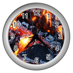 Fire Embers Flame Heat Flames Hot Wall Clocks (silver)