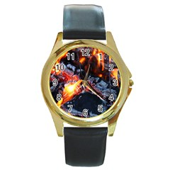 Fire Embers Flame Heat Flames Hot Round Gold Metal Watch
