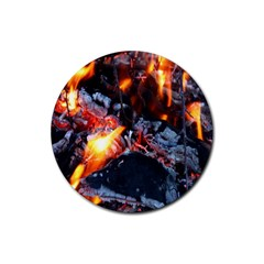 Fire Embers Flame Heat Flames Hot Rubber Coaster (round)