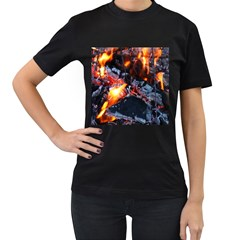 Fire Embers Flame Heat Flames Hot Women s T-Shirt (Black) (Two Sided)