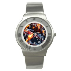 Fire Embers Flame Heat Flames Hot Stainless Steel Watch