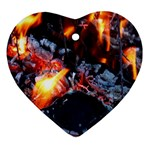 Fire Embers Flame Heat Flames Hot Heart Ornament (Two Sides) Front