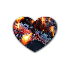 Fire Embers Flame Heat Flames Hot Rubber Coaster (heart)