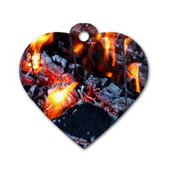 Fire Embers Flame Heat Flames Hot Dog Tag Heart (One Side)