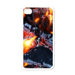 Fire Embers Flame Heat Flames Hot Apple iPhone 4 Case (White)