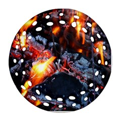 Fire Embers Flame Heat Flames Hot Round Filigree Ornament (Two Sides)
