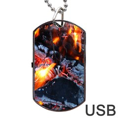 Fire Embers Flame Heat Flames Hot Dog Tag USB Flash (Two Sides)