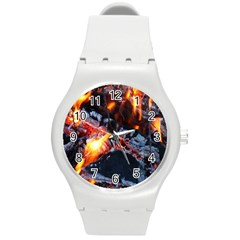 Fire Embers Flame Heat Flames Hot Round Plastic Sport Watch (m)