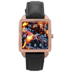 Fire Embers Flame Heat Flames Hot Rose Gold Leather Watch