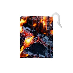 Fire Embers Flame Heat Flames Hot Drawstring Pouches (small)