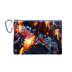 Fire Embers Flame Heat Flames Hot Canvas Cosmetic Bag (M)