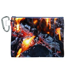 Fire Embers Flame Heat Flames Hot Canvas Cosmetic Bag (XL)
