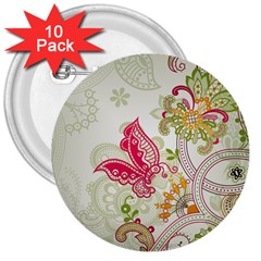 Floral Pattern Background 3  Buttons (10 pack)