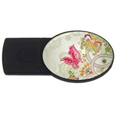 Floral Pattern Background USB Flash Drive Oval (4 GB)