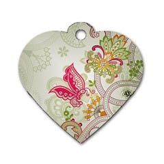 Floral Pattern Background Dog Tag Heart (Two Sides)