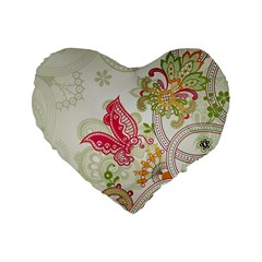 Floral Pattern Background Standard 16  Premium Flano Heart Shape Cushions