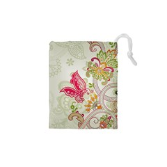 Floral Pattern Background Drawstring Pouches (XS)