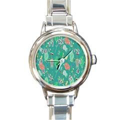 Floral Elegant Background Round Italian Charm Watch