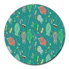 Floral Elegant Background Round Mousepads