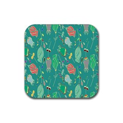 Floral Elegant Background Rubber Coaster (Square)