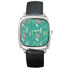 Floral Elegant Background Square Metal Watch