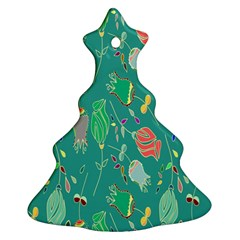 Floral Elegant Background Christmas Tree Ornament (Two Sides)