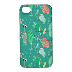 Floral Elegant Background Apple iPhone 4/4S Hardshell Case with Stand
